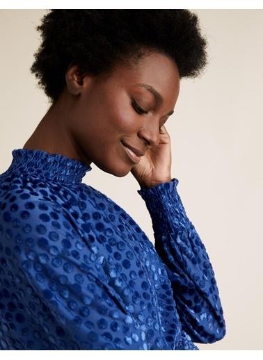 Marks & Spencer Puantiyeli Dik Yakalı Relaxed Bluz Mavi